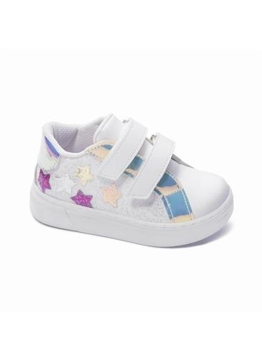 Sanbe Sanbe 128T4601 Yıldız Desenli Bantlı Kız Çocuk Casual Ayakkabı Krem